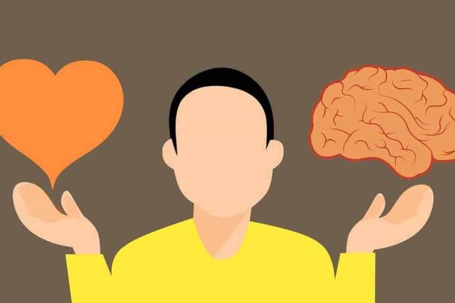 Intuitiv mit der Intuition oder rational mit dem Verstand entscheiden? Das Bild zeigt einen Kopf mit dem Herz in der einen und den Verstand in der anderen Hand vor einer Entscheidung.